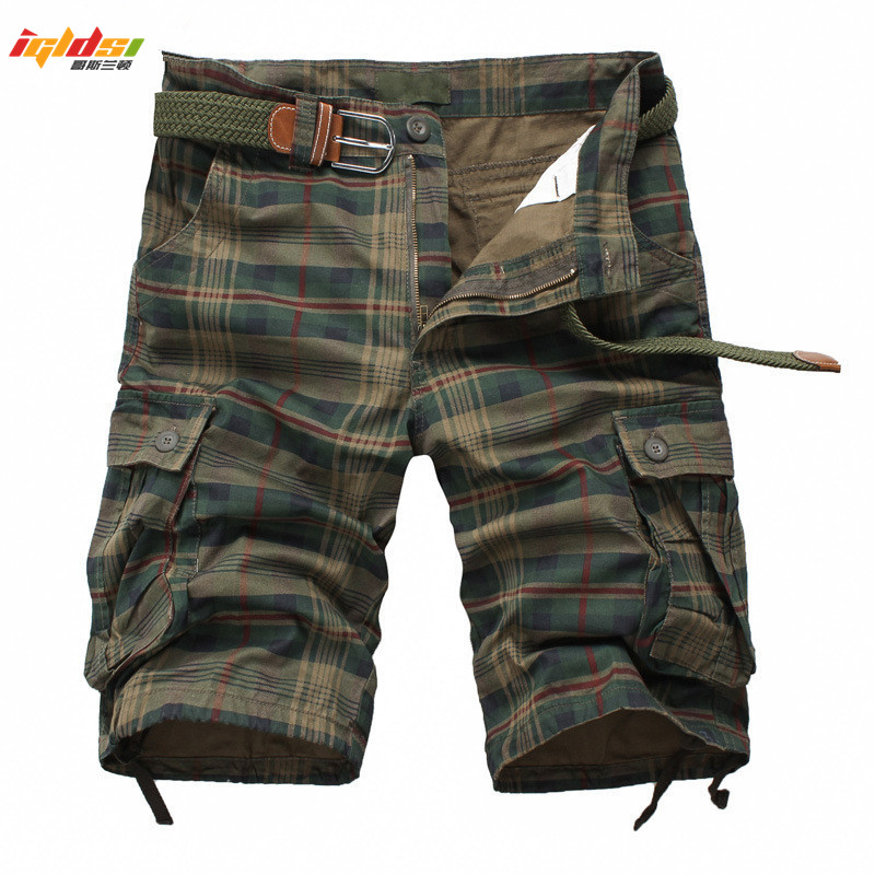 Men Shorts 2018 Fashion Plaid Beach Shorts Men's Casual Camo Camouflage Shorts Military Short Pants Male Bermuda Cargo Overalls