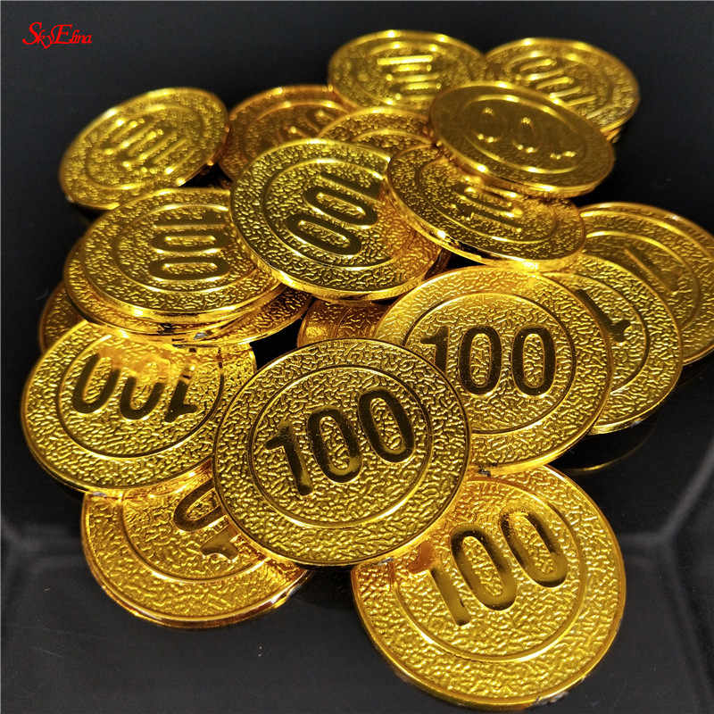 50/100psc Toy coins Gold Plated Pyramids Coins American Coins Halloween Gold and Silver Foreign Coins pirate treasure digital 6z