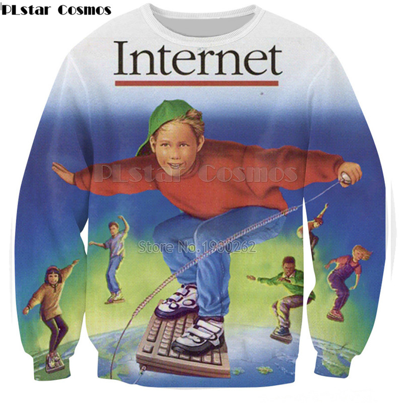 PLstar Cosmos Sweatshirt New Style Fashion Hoodies Harajuku Internet Crewneck Sweatshirt  Long Sleeve Crewneck Tops