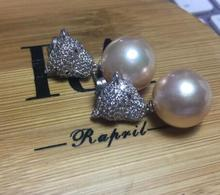 Selling Jewelry>>charming pair of 12-13mm south sea gold pink pearl earring silver