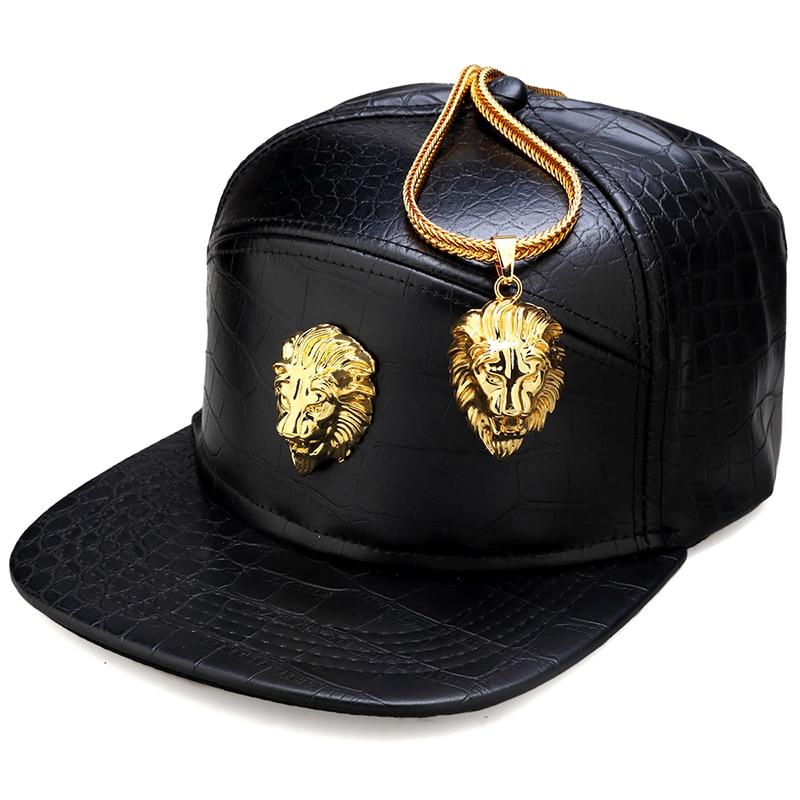 NYUK Metal Gold Lion Head Logo Gorra de béisbol de cuero de la PU Unisex Casual Hebilla de cinturón Hip Hop Rap 5 Panel Sun Snapback Sombreros Hombres Mujeres