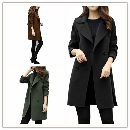 Women Lapel Long Sleeve Woolen Trench Coat Autumn Down Collar Elegant Turn Slim Double Breasted Female Overcoat Trench Coats