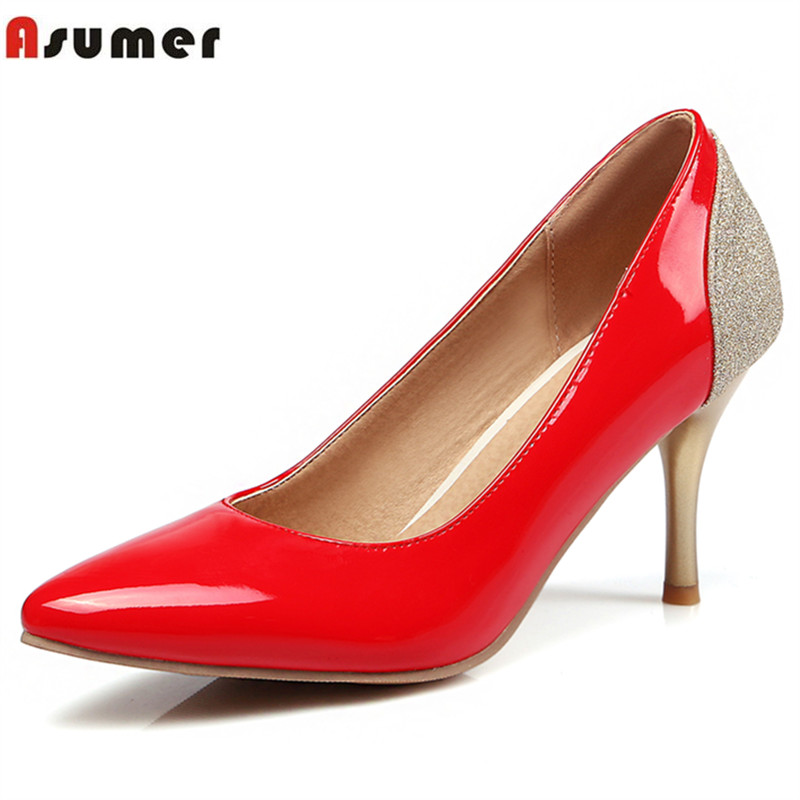 Asumer Mixed colors party shoes office lady pu pumps big size 33-48 shoes women spring autumn pointed toe high heels shoes 2016 spring high heels women glatiador shoes sex party pumps office lady plain peep toe valentine shoes