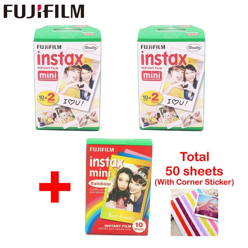 Fujifilm 40 feuilles bord blanc 3 pouces de large et 10 pièces papier arc-en-ciel instax mini 8 film pour mini instantané 7 s 9 25 50 s 90 appareil photo