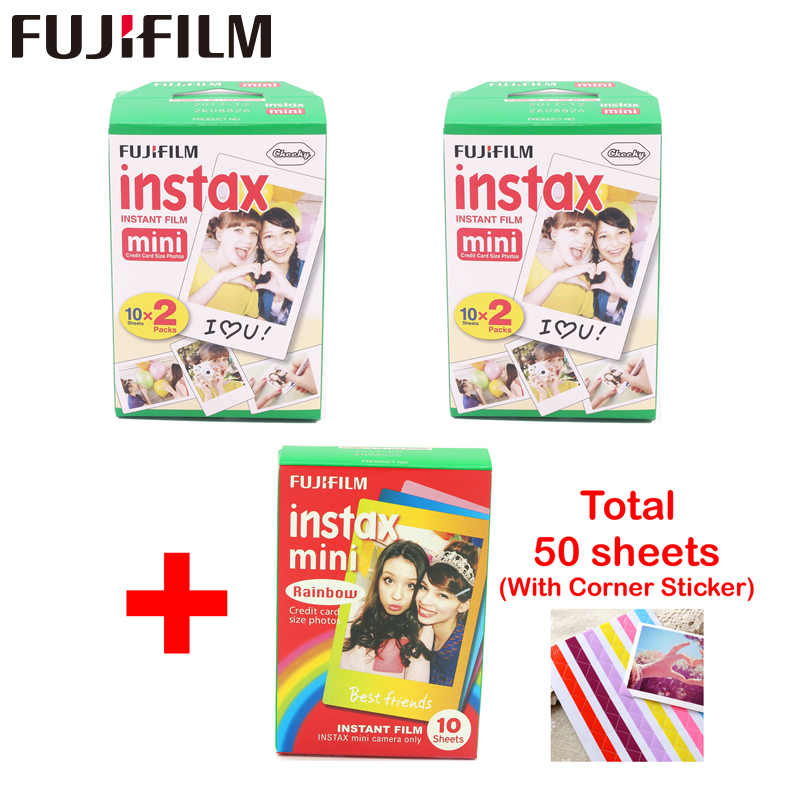 fujifilm 40 sheets White Edge 3 inch wide and 10pcs Rainbow paper instax mini 8 film for Instant mini 7s 9 <font><b>25</b></font> 50s <font><b>90</b></font> camera image