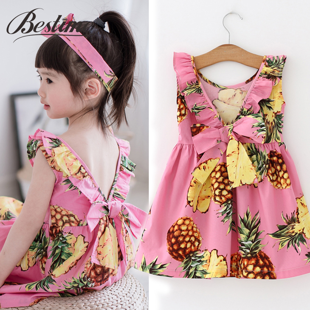 Summer Pineapple Girls Dress Pink Cotton Sleeveless Kids Dress Girls Beach Dress Fashion Kids Clothing Dress for Girls