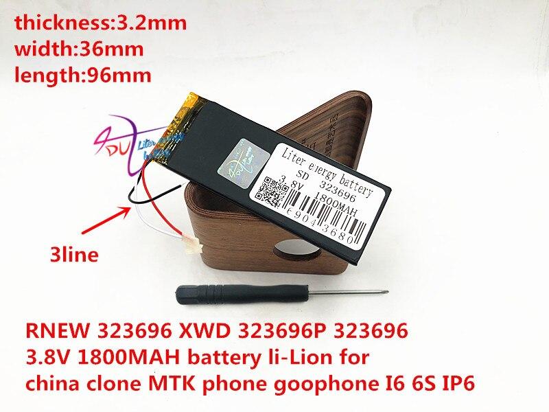 RNEW 323696 XWD 323696P 323696 3.8V 1800MAH battery li-Lion for china clone MTK phone goophone I6 6S IP6