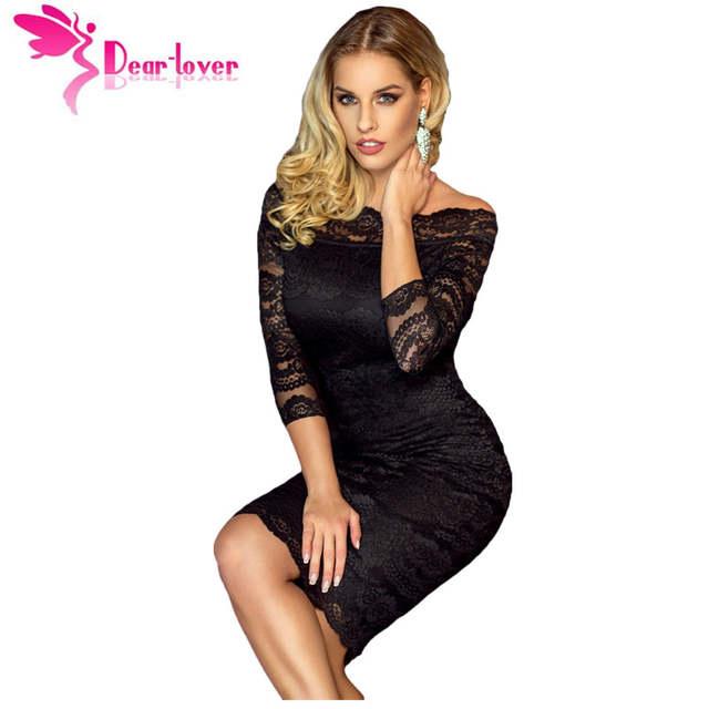 14634cda1cd98 Dear-Lover Office Ladies Dress Party Slash Nech Black Lace Scalloped Off  Shoulder Midi Dress Fall Vestido de Renda Festa LC61291