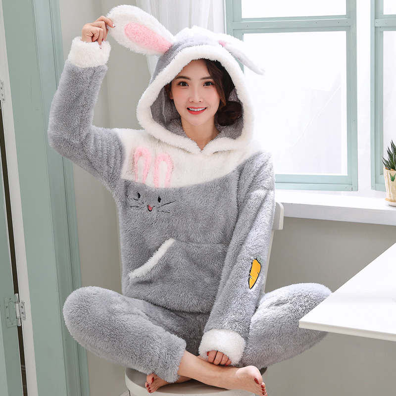 JINUO Popular Coral Fleece Woman Pajama Sets Hooded Female Thicken Pajama Sets Autumn Winter Warm Animal Rabbit Indoor Sleepwear