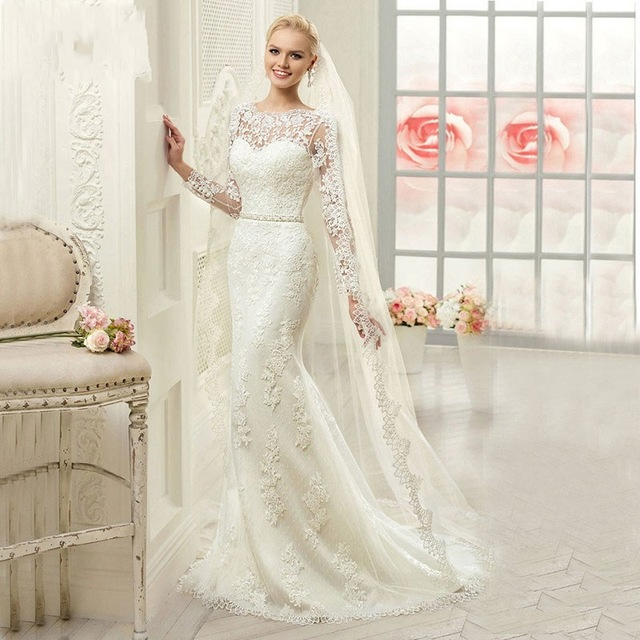 ivory scoop neck trumpet vestido re novia marriage gowns formal wedding dress full sleeves new