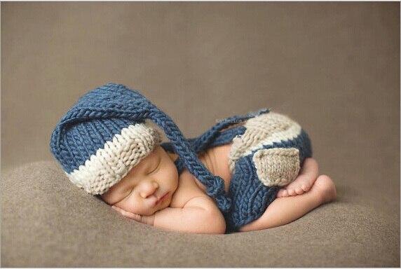 Nouveau coton nouveau-né photographie accessoires Costume main Crochet tricot infantile noël bébé chapeau et bretelles pantalon