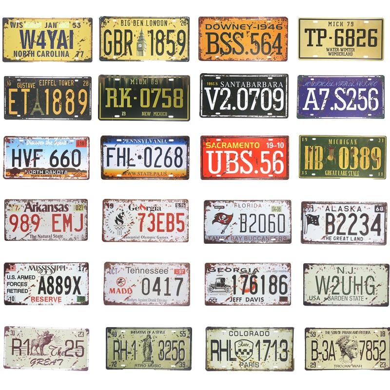 Vintage Metal Tin sign Car Plates Number USA License Plate Garage Plaque Metal Tin Signs Poster Bar Decor 15x30cm