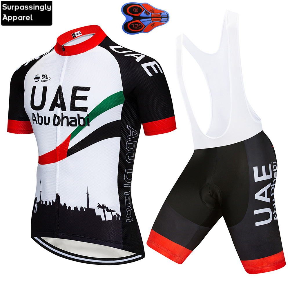 2019 UCI TEAM UAE Cycling Clothing 12D Gel Pad Shorts Bike Jersey Set Ropa Ciclismo Mens Pro Bicycling Maillot Culotte Clothing2019 UCI TEAM UAE Cycling Clothing 12D Gel Pad Shorts Bike Jersey Set Ropa Ciclismo Mens Pro Bicycling Maillot Culotte Clothing