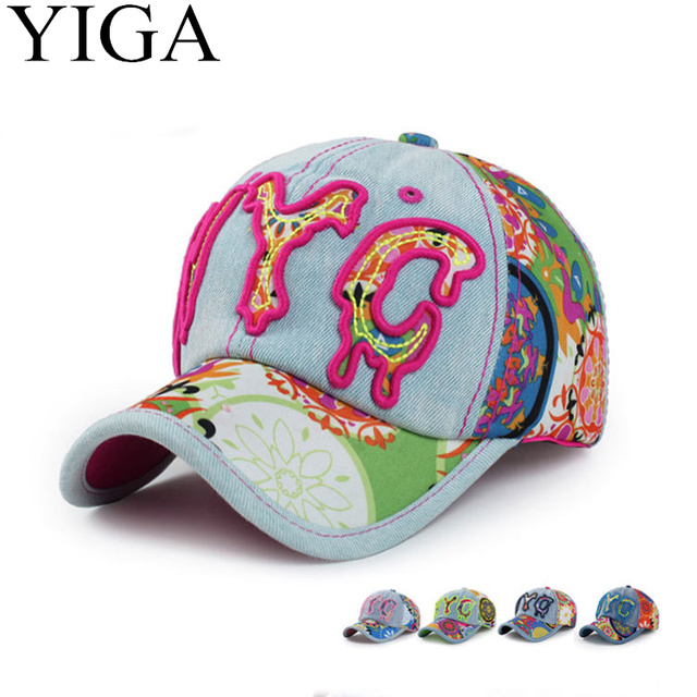 Yiga 2017 New Fashion Summer Denim Baseball Cap Floral Hats Cap