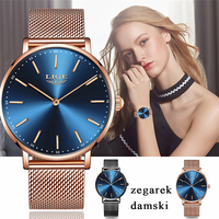 LIGE Womens Watches Top Brand Luxury Rose Gold Steel Mesh Fashion Simple Quartz Business Waterproof Watch Women Relogio Feminino
