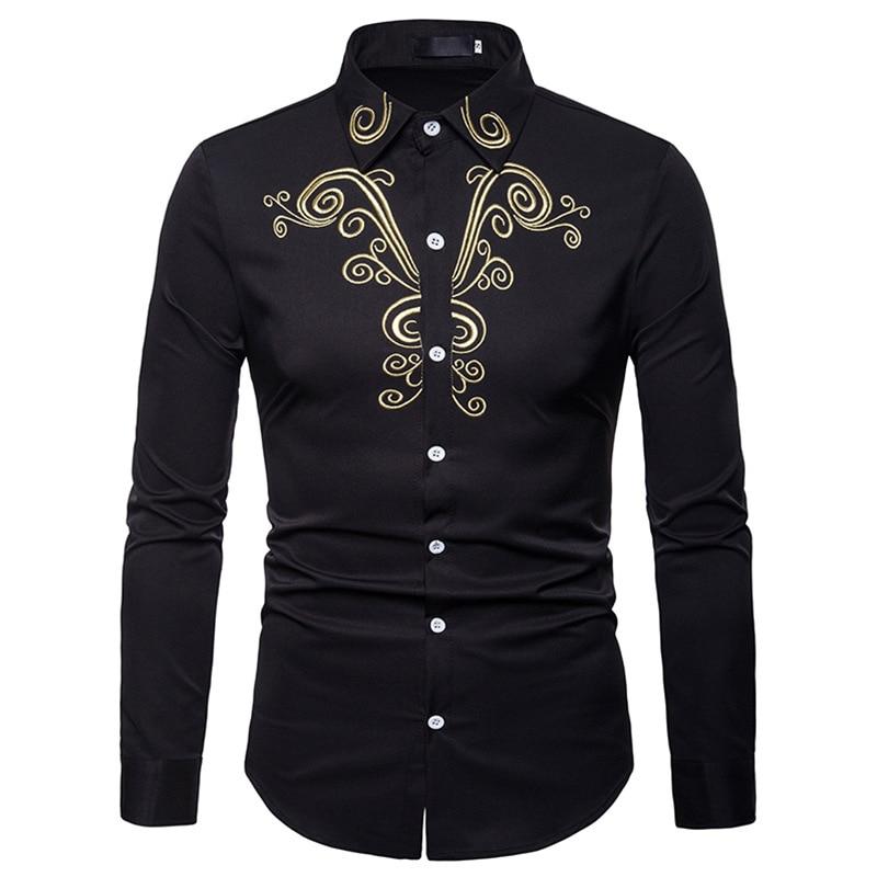 Gold Flower Embroidery Shirt Men Breathable Large Long Sleeve Tuxedo Mens Dress Shirt Autumn Party Wedding Dinner Chemise Homme