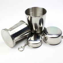 Stainless Steel Portable Camping Folding Water Cup  Outdoor Travel Collapsible Cup With Keychain Drinking Tools H portable stainless steel outdoor multitool keychain with phone holder