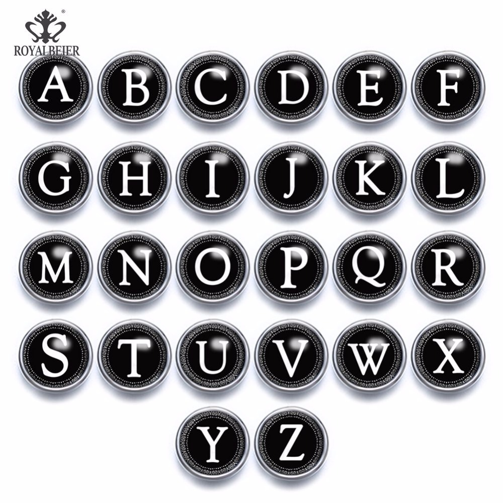 ROYALBEIER 26pcs/lot A-Z Letters Alphabet <font><b>Snap</b></font> <font><b>Buttons</b></font> <font><b>12mm</b></font> <font><b>Snap</b></font> <font><b>Jewelry</b></font> Black White Glass <font><b>Snap</b></font> <font><b>Button</b></font> Fit <font><b>Snap</b></font> Bracelet image