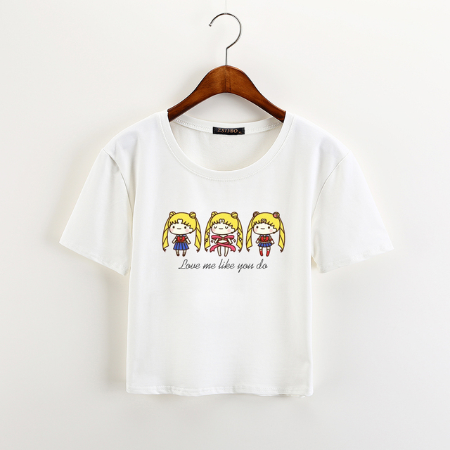 Sailor Moon Print Crop Top T-Shirt