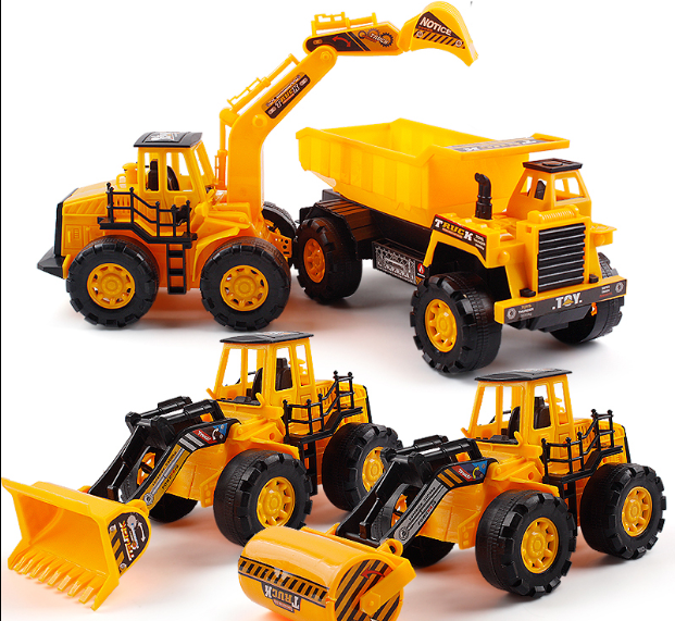 4pcs Construction vehicle toy large inertia excavator excavator set children toy car boy crane truck model children inertia toy car simulator ladder truck firetruck