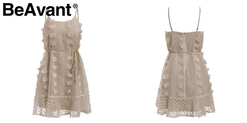 BeAvant Vintage flower embroidery short dress women Elegant spaghetti strap lace up sundress White ruffled summer ladies dresses 19