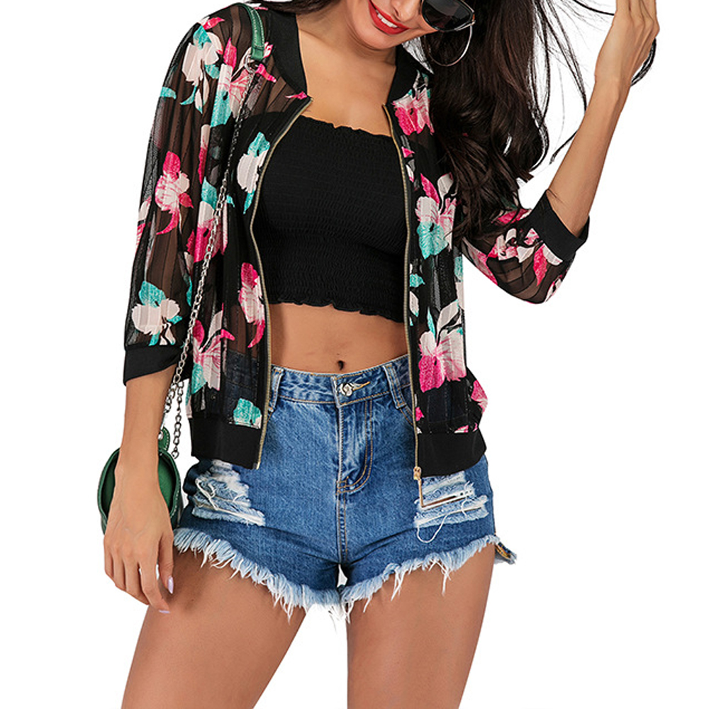 Sexy Thin Mesh Floral Printed Tops For Women Homecoming Air Conditioning Casual Slim Summer Ladies Baseball Basic Jacket WDC2409