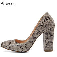 AIWEIYi 2017 Women Pumps Black Fashion Pu Leather Square High Heel Shoes Woman Round Toe Casual