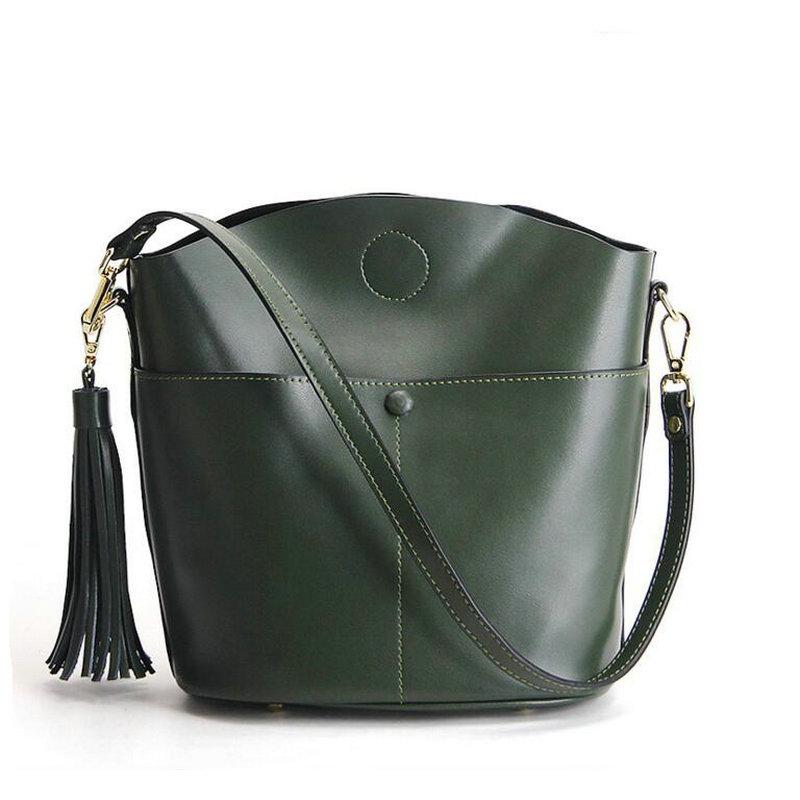2017 The new Brand 100% genuine leather women large shoulder bag female hobos bag with tassel women handbag Tassel bag marfuny brand tassel shoulder bag female