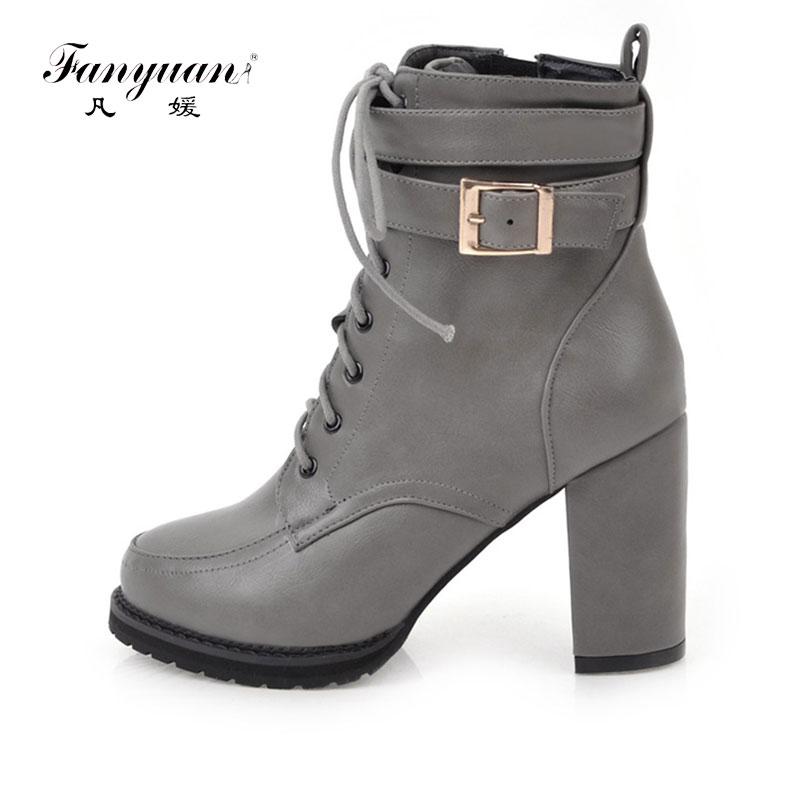 Fanyuan New 2017 Sexy Women Boots Fashion Platform punk Square high heels Black Ankle boots For Woman Buckle Design Shoes