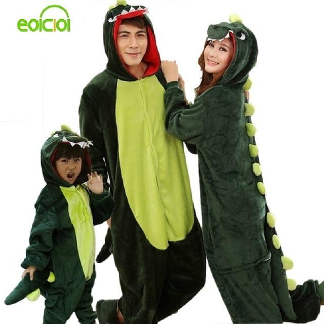 Animal pajamas one piece Family matching outfits Adult onesie Mother and daughter clothes Totoro Dinosaur Unicorn Pyjamas women