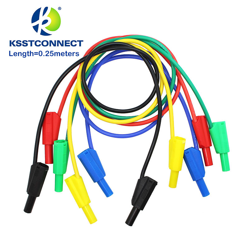 TL401 Length=0.25meter High Quality 13AWG flexible silicone test leads 4mm Safety shrouded stackable banana plug bp414 4mm banana plug high current insulated shrouded stackable connector screw connection