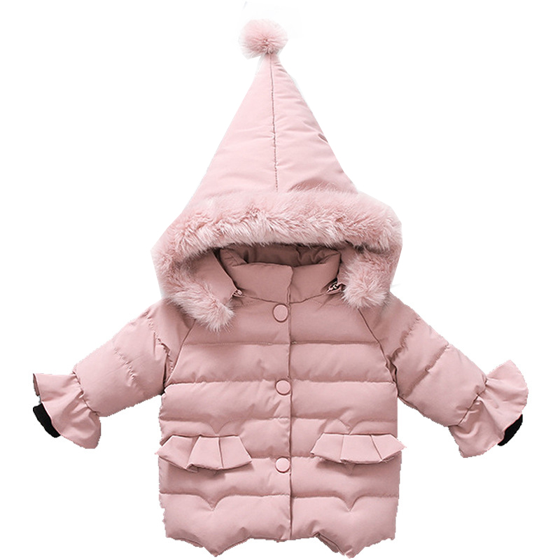 Girls Winter Coat 2018 New Cotton Padded Kids Jackets for Girl Warm Thick Hooded 1 2 3 4 Year Baby Children Outerwear Clothing