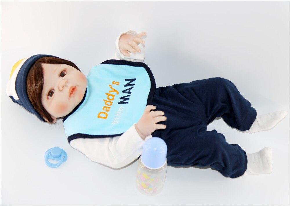 60 см силиконовые куклы Reborn Baby гладкие коричневые короткие волосы мальчик реалистичный хлопок тело Детские куклы мягкое прикосновение Дети ... - 2