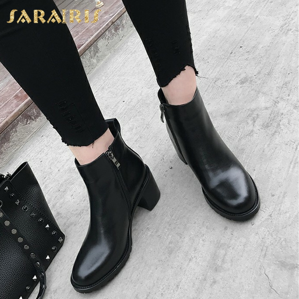SARAIRIS New plus Size 33-43 Cow Leather Chunky Heels Boot Women Shoes Woman Hot Sale Zip Up Ankle Boots Woman