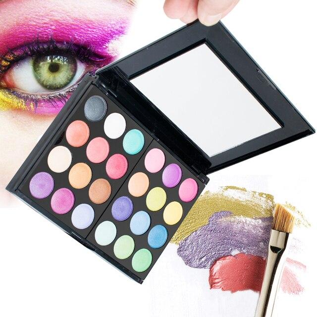 Pro Warm Colors Matte Shimmer Eyeshadow Palette Makeup Kit Set + Brush Mirror M2