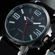Classique noir sport montres hommes marque de luxe en caoutchouc bande 5 indice de couleur de mode nouveau bracelet à quartz top armée relogio masculino
