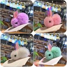 Милые заколки для волос с объемными шариками в виде кролика для девочек, яркие цвета, сетчатые заколки для волос, заколка в виде милых животных, Детские аксессуары для волос