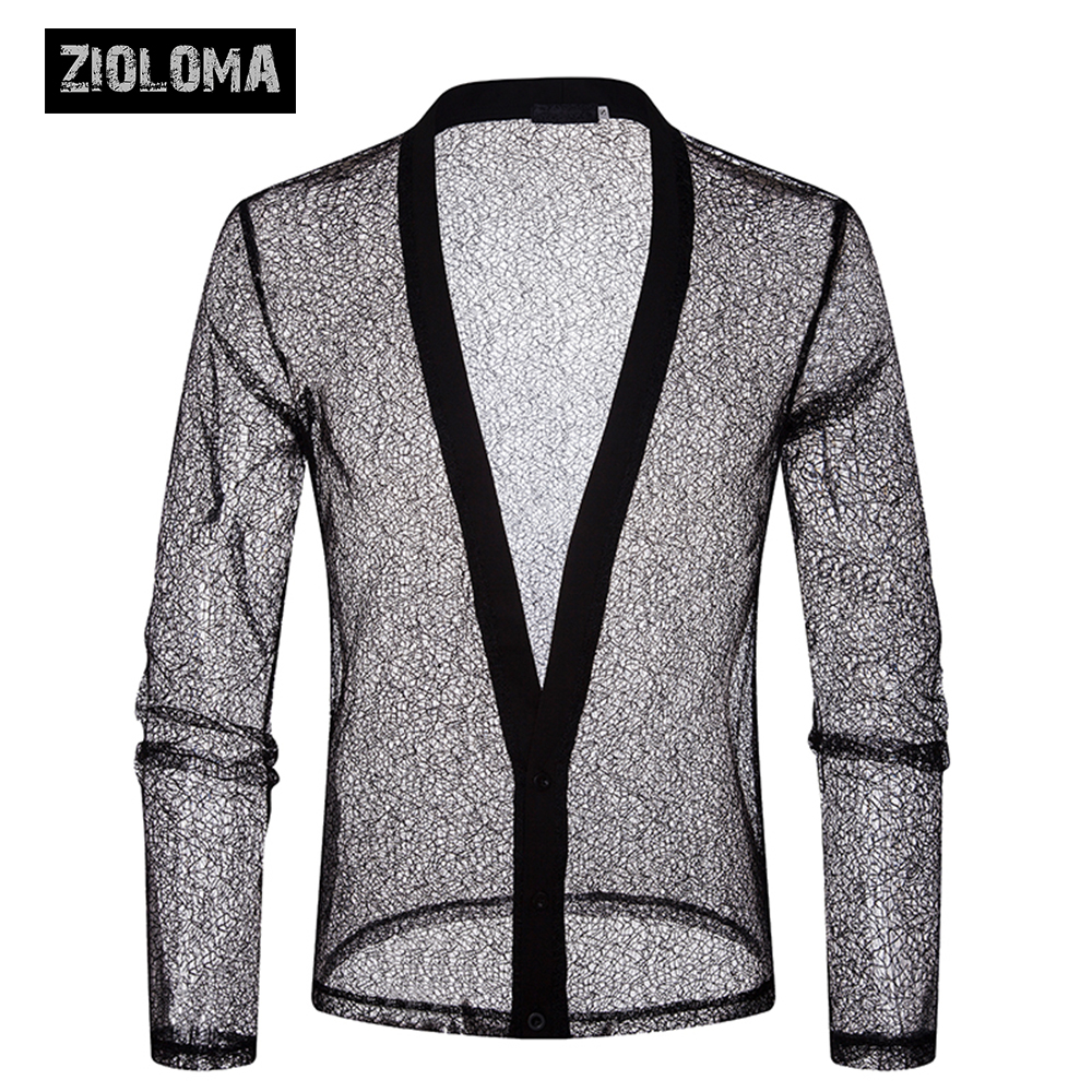 ZIOLOMA Luxury Floral Embroidery Lace 2018 Transparent Sexy Dress Shirts Mens See