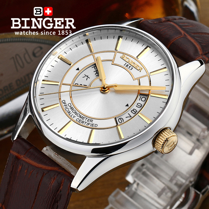 Sapphire Switzerland Mechanical Men Watch Automatic Binger Luxury Brand Wrist Watches Male Japanese Movement Men's Watch B5007 switzerland binger watch men 2017 luxury brand automatic mechanical men s watches sapphire wristwatch male reloj hombre b1176g