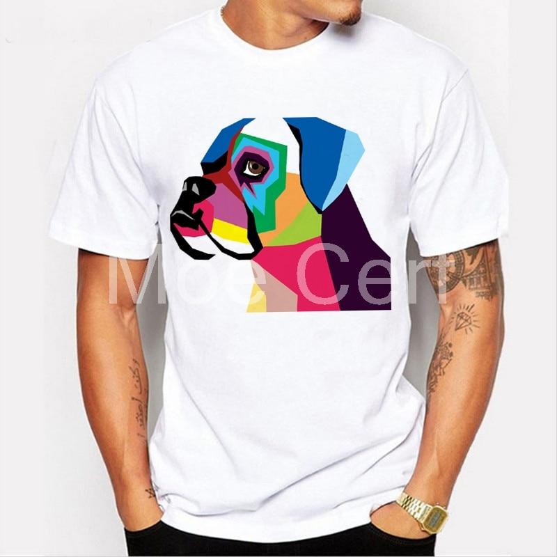 The Boxer Dog T-shirt New Geometric Pug T Shirt Men Hip Hop Men T-shirt Casual Fitness 2019 Hipster Cool Tops L21-99
