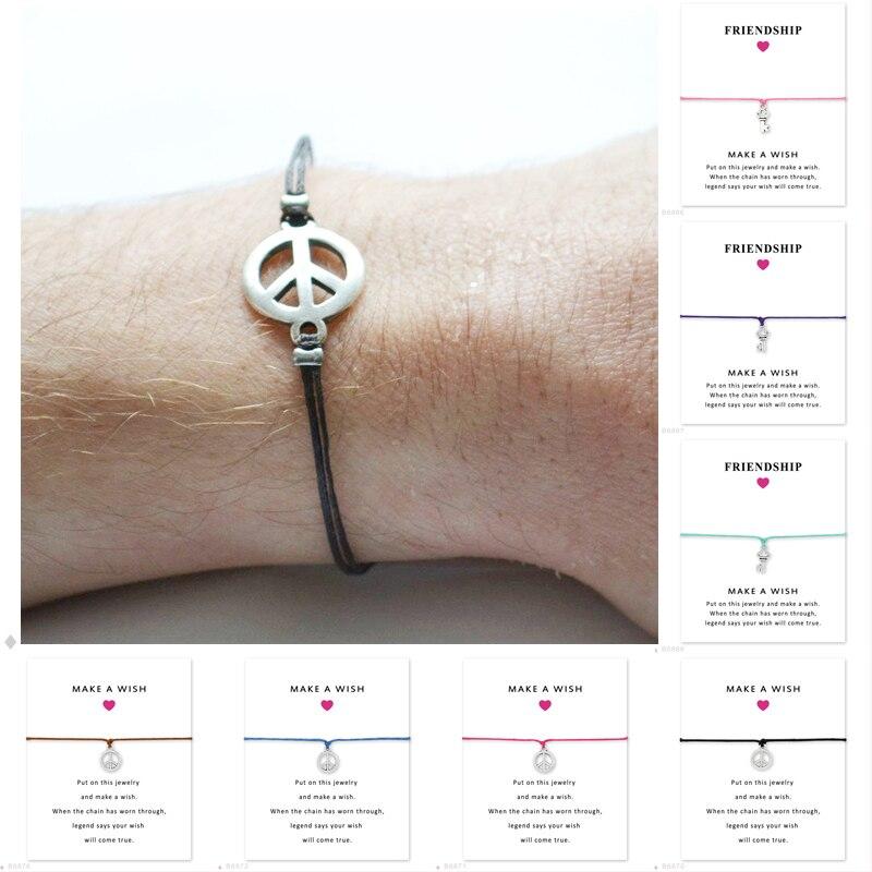 Unissex meninas amizade declaração noivado casamento dama de honra prata charme fazer um desejo sinal de paz pulseiras chave para mulher