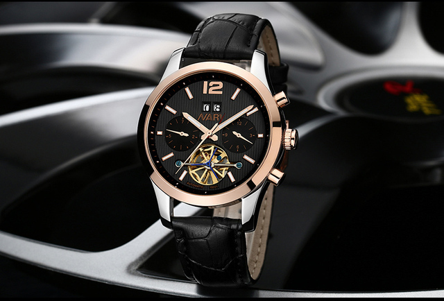 NARYWatches Men Luxury Brand Automatic Skeleton Mechanical Watches Men Leather Watch Casual Wristwatch Male Clock Hombre Relogio