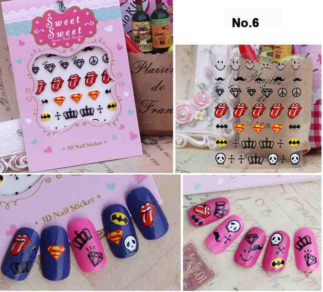 New beauty 3d colorful nail art tips stickers decal wraps for Acrylic nail decoration supplies