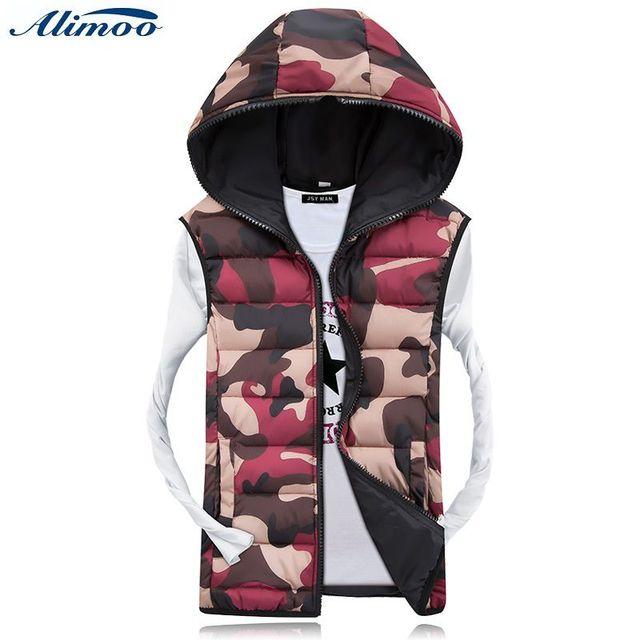 Alimoo Men's Casual Cotton Hooded Vest Camouflage Boy Vest 3 Colors Plus Size Women Warm Coat