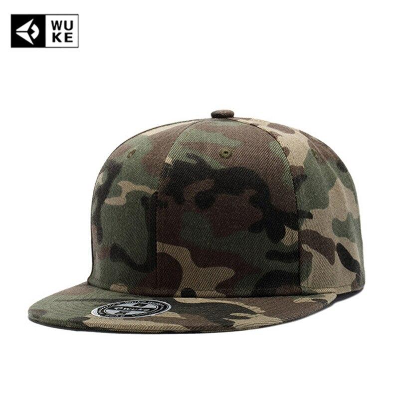 [WUKE] Marque Haute Qualité Camouflage Casquette de Baseball Plat Hip Hop Chapeaux Pour Hommes Femmes Camo Snapback Os Chapeau gorras Casquette
