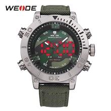 WEIDE 2017 Luxury Brand Watch Men Nylon Band Quartz Watches Black Green Digital LED Military Analog Wristwatch Army Masculino