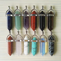 50pcs alloy natural stone crystal pillar Pendants & necklaces for making Jewelry fashion mixed charm Point pendant Free shipping
