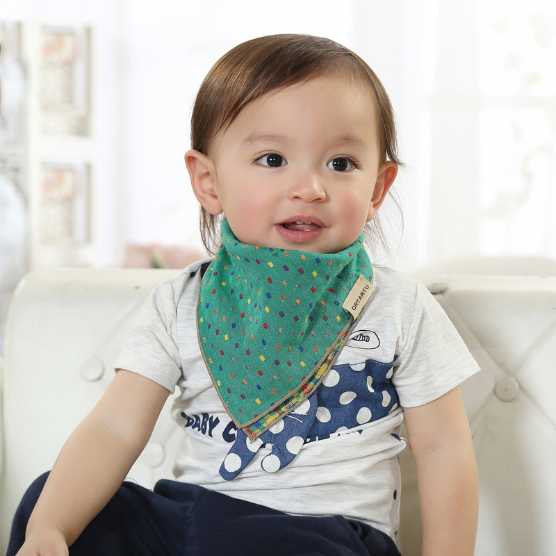 Two Sides Baby Bibs Triangle Scarf Plaid Fashion Print Baby Towel Soft Cotton Bib Burp Cloths Accessories BB0154