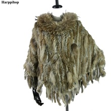 2019 new best quality Real Knitted Rabbit Fur Poncho raccoon fur trimming rabbit Shawl with Tassels and pocket Wrap women
