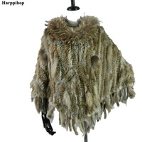 2019 new best quality Real Knitted Rabbit Fur Poncho raccoon fur trimming rabbit fur Shawl with Tassels and pocket Wrap women